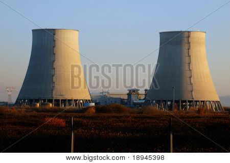 View of a twin nuclear power plant cooling towers