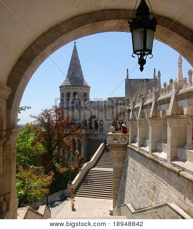 The great tower of Fishermen's Bastion on the castle hill of Budapest