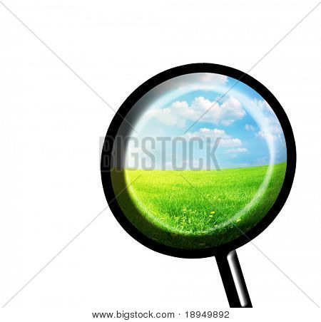 Exploring spring with magnifying glass. Conceptual image. Isolated on white