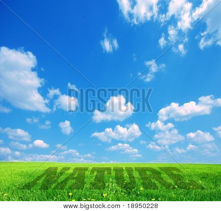 Landscape background with nature caption. Conceptual image