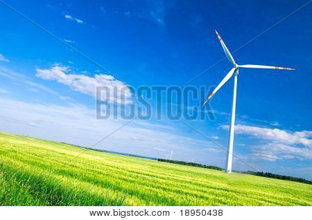 Wind turbines landscape. Environment fiendly source of energy