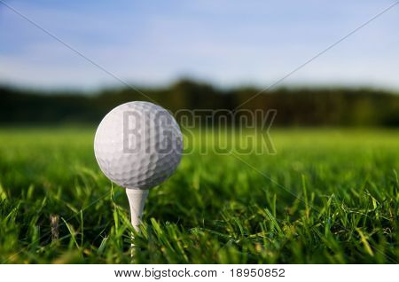 Golf ball on tee. Green grass, blue sky.
