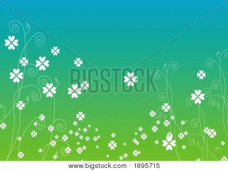 Foliage Background In Blue, White And Green