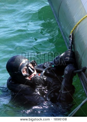 Military Diver On Mission