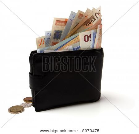 Money in leather  purse isolated on white  background