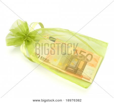 Dotation concept. Money inside gift bag isolated on white background.