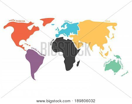 Multicolored world map divided six vector photo bigstock multicolored world map divided to six continents in different colors north america south america gumiabroncs Images