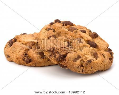Chocolate homemade pastry biscuits isolated on white background