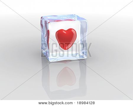 Ice cube and heart