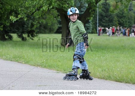 Learning to ride on rollerblades