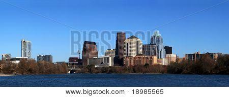 The downtown austin texas skyline on a clear sunny day.