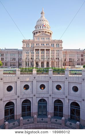 The Texas State Capitol Building in downtown Austin, Texas.  Austin is the capital city of Texas.