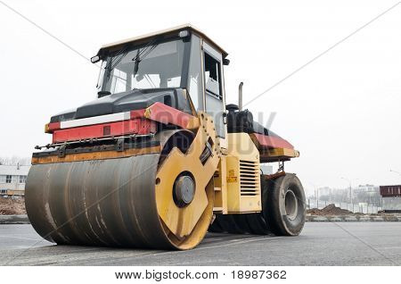 Heavy Vibration roller at asphalt pavement works (road repairing)