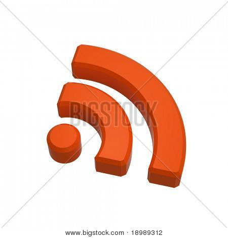 Orange RSS sign isolated on white. Computer generated 3D photo rendering.