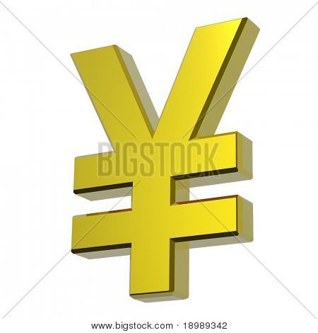 Gold Yen sign isolated on white. Computer generated 3D photo rendering.