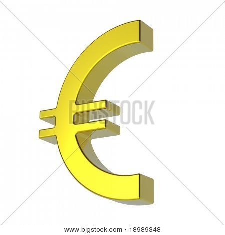 Gold Euro sign isolated on white. Computer generated 3D photo rendering.