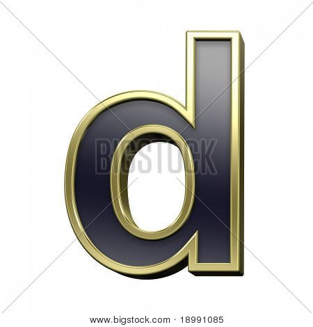 One lower case letter from black with gold shiny frame alphabet set, isolated on white. Computer generated 3D photo rendering.