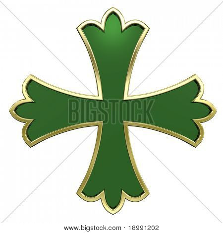 Green with gold frame heraldic cross isolated on white. Computer generated 3D photo rendering.