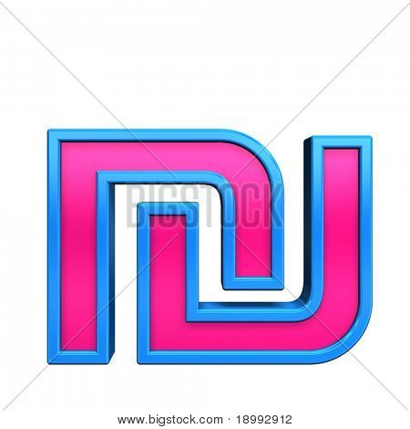 Sheqel sign from pink with blue frame alphabet set, isolated on white. Computer generated 3D photo rendering.