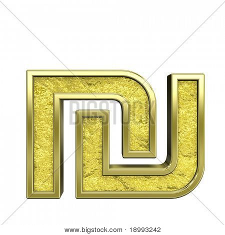 Sheqel sign from gold cast alphabet set, isolated on white. Computer generated 3D photo rendering.