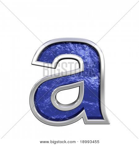 One lower case letter from blue glass cast with chrome frame alphabet set, isolated on white. Computer generated 3D photo rendering.