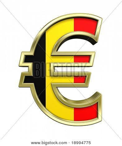 Gold Euro sign with Belgian flag isolated on white. Computer generated 3D photo rendering.