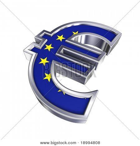 Símbolo del Euro de plata con la bandera de la Unión Europea aislado en blanco. Ordenador genera renderizado 3D foto.