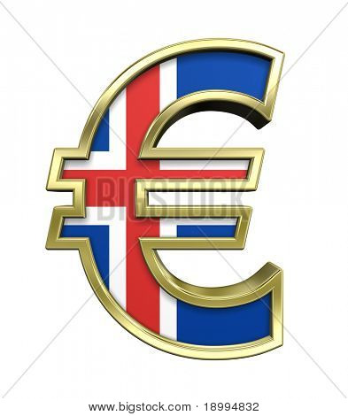 Gold Euro sign with Iceland flag isolated on white. Computer generated 3D photo rendering.