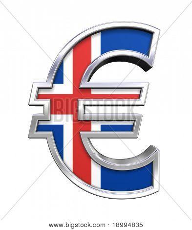 Símbolo del Euro de plata con bandera de Islandia aislado en blanco. Ordenador genera renderizado 3D foto.