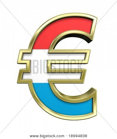 Gold Euro sign with Luxembourg flag isolated on white. Computer generated 3D photo rendering.