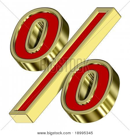 Percent sign from red with gold frame alphabet set, isolated on white. Computer generated 3D photo rendering.