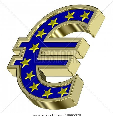 Gold Euro sign with yellow stars isolated on white. Computer generated 3D photo rendering.
