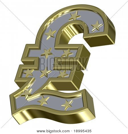 Gold-silver Pound sign with stars isolated on white. Computer generated 3D photo rendering.