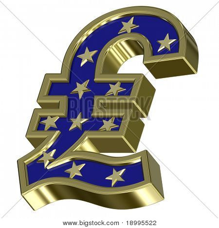 Gold-blue Pound sign with stars isolated on white. Computer generated 3D photo rendering.