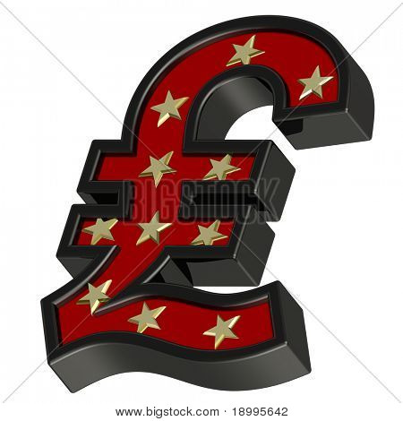 Red-black Pound sign with stars isolated on white. Computer generated 3D photo rendering.