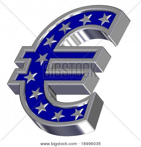 Silver-blue Euro sign with stars isolated on white. Computer generated 3D photo rendering.