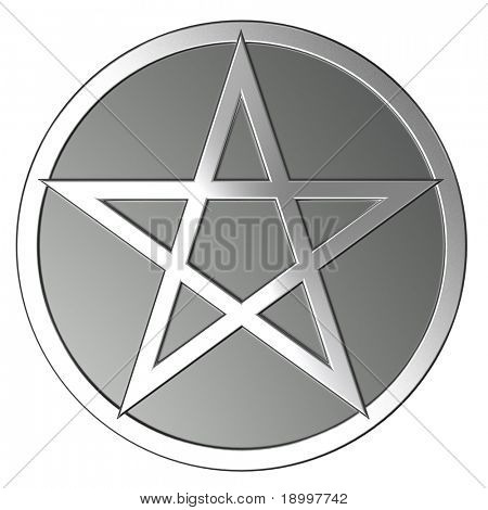 Silver pentagram isolated on white. Computer generated 3D photo rendering.