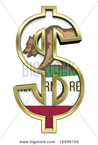 Dollar sign with California flag isolated on white. Computer generated 3D photo rendering.
