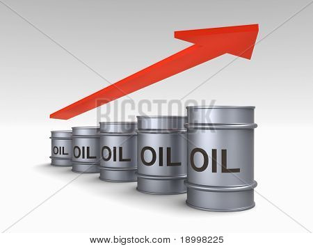 Increasing price of oil concept. Computer generated 3D photo rendering.