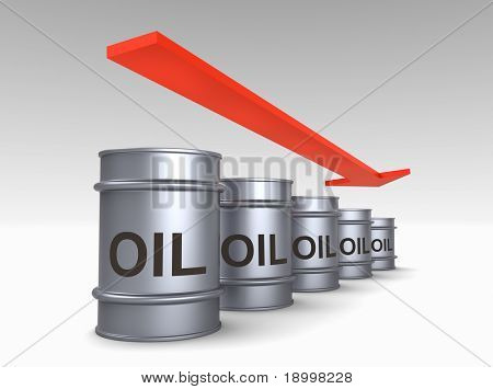 Falling price of oil concept. Computer generated 3D photo rendering.