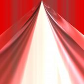 red theater curtain opening over white background