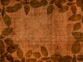 Brown wooden background with leaves frame
