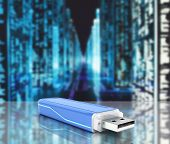 Usb Flash Drive In Blue With Backlight On Digital Information Background With Reflection 3D poster