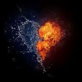 Постер, плакат: Сердце в огонь и вода изолированные на черном фоне Компьютерная графика