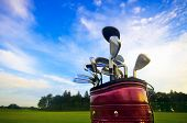 foto of golf  - Professional golf gear on the golf field - JPG