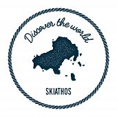 Skiathos Map In Vintage Discover The World Insignia. Hipster Style Nautical Postage Stamp, With Roun poster