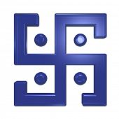 picture of swastika  - Blue glass swastika symbol isolated on the white - JPG