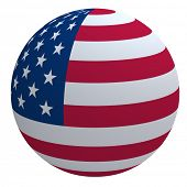 picture of usa flag  - USA flag on the ball isolated on white - JPG