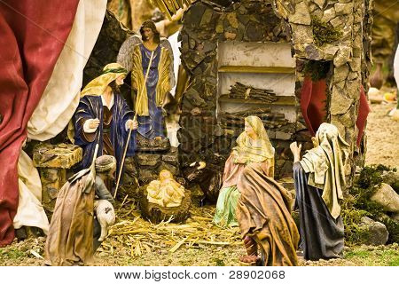 Jesus Christ, Virgin Mary and Joseph in a crib scene