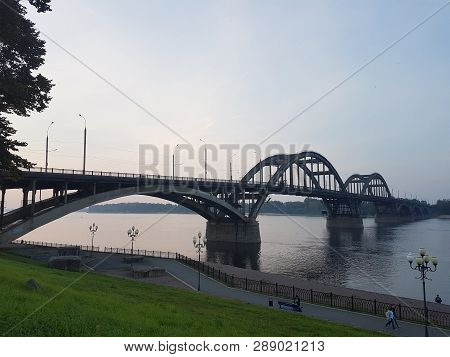 Volga Bridge And Embankment Over